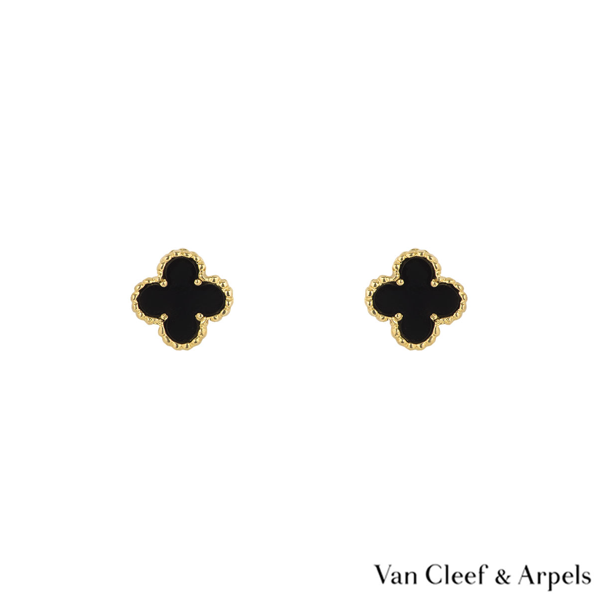 Van Cleef & Arpels Yellow Gold Onyx Sweet Alhambra Earrings VCARA44900